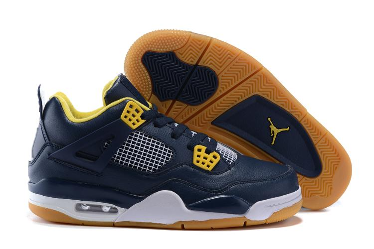 JORDAN Basketball Shoes Low help Sneakers blue and yellow  Men's Basketball Shoes Jordan 4 Free shipping