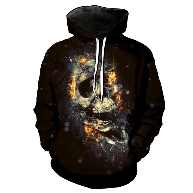 3D Melted Skull Casual Pullover