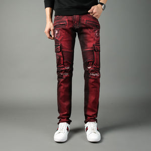 High Street Fashion Men Jeans Big Pockets Denim Cargo Pants