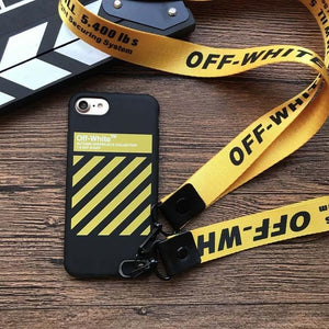 off white Soft silicon cover case for iphone 6 6Plus S 7 7 plus 8 8Plus X 10 Lanyard phone cases