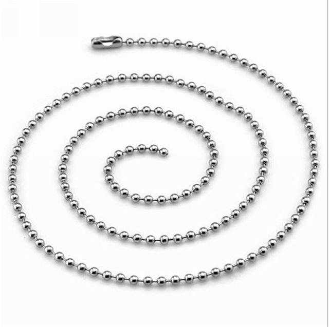 2PCS/Lot Stainless Steel Beads Chain Necklace
