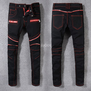 New France Classic Style #8816# Men's Distressed Ribbed Biker Jeans