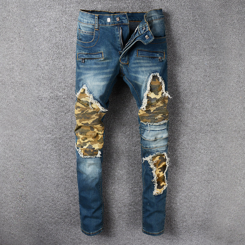 High StreetCamouflage Spliced Men's Jeans