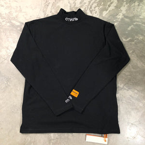 Best Quality Heron Preston Men Women Turtleneck Collar Embroidery T shirt Pullover Hiphop 1:1 Fashion Long Sleeve Cotton T shirt