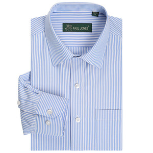 Classic Striped Men Dress Shirts Long Sleeve Plus Size Business Formal Shirts
