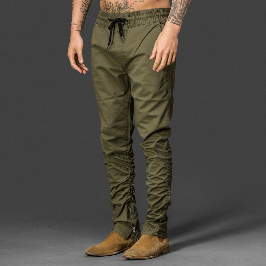 Khaki Green Side Ankle Zip Brave soul fog style long trousers pants chinos