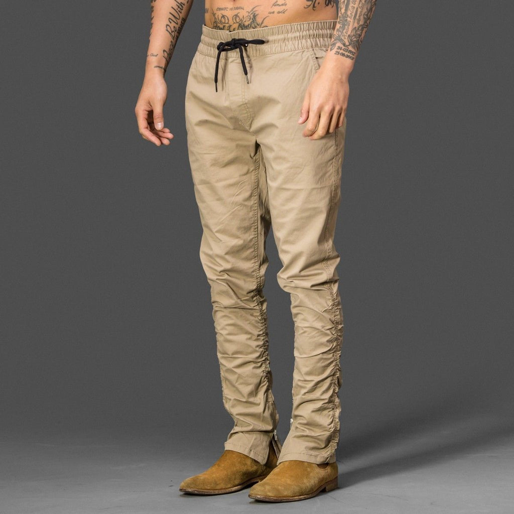 Sand Colour Side Ankle Zip Brave soul fog style long trousers pants chinos