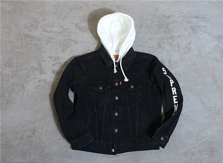 2017 Supreme 17ss Joint clothing Hood Trucker Denim Jacket Hooded