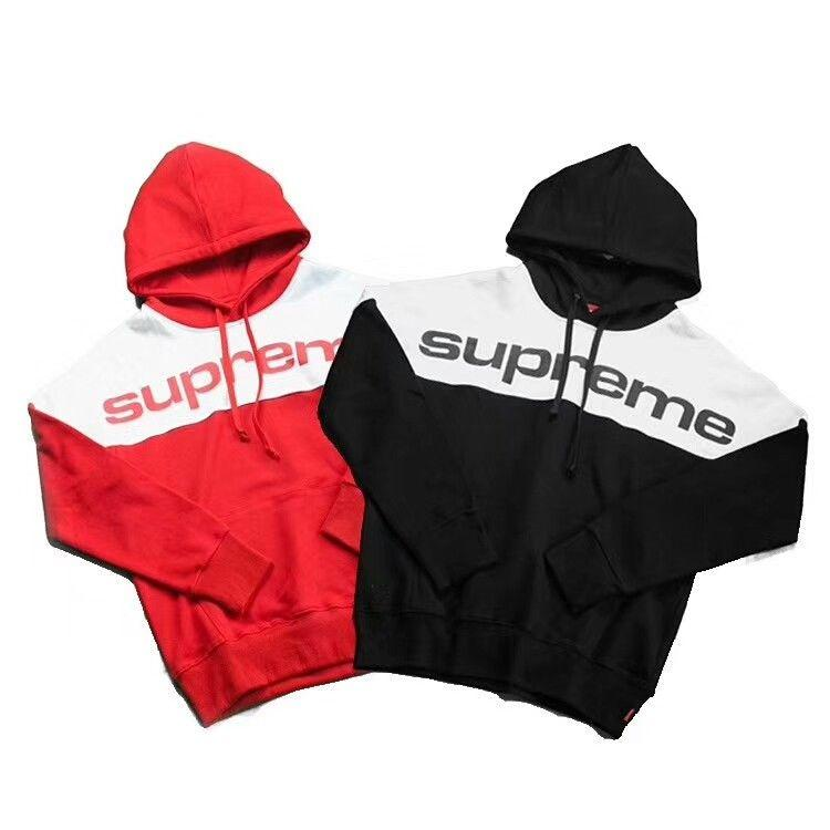 17FW Supreme Blocked Hooded Mens