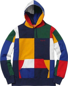 Supreme 17FW Patchwork Hooded Sweatshirt Stitching color fashion sweater S-XL