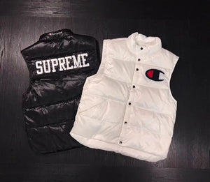 2017 Supreme 17SS Joint Puffy Vest  Winter Warm Waistcoat stand Collar Jacket