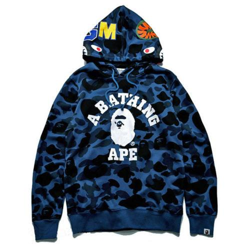 A Bathing Shark Mens Hoodie Bape Head Camo Jacket Pullover Sweatshirt Coat