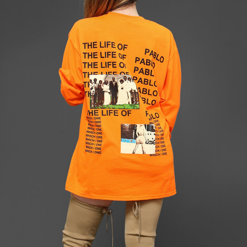 LADIES THE LIFE OF PABLO ORANGE LONG SLEEVE T-SHIRT
