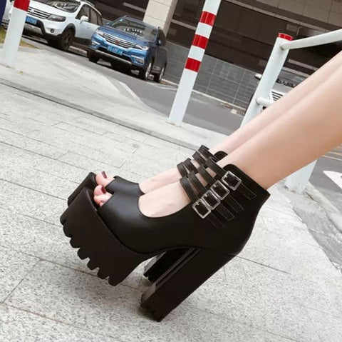 Bad Romance Peep Toe Platform Shoes - Alternative Fashion