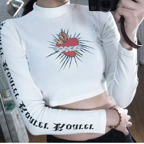 Crop Top Long Sleeve Heart - Alternative Fashion