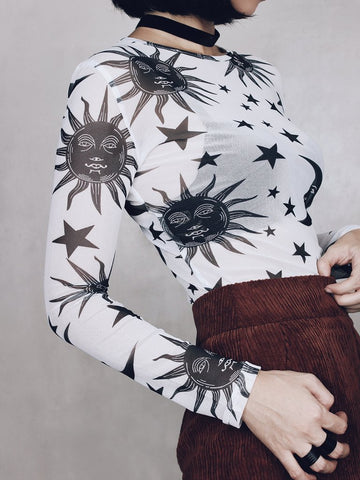 White Sun and Moon Mesh Top - Alternative Fashion
