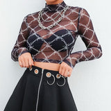 Barbed Wire Mesh Crop Top - Alternative Fashion