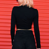 Hollow Black Crop Top - Alternative Fashion