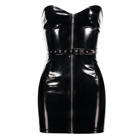 Bodycon Black Leather Dress - Alternative Fashion