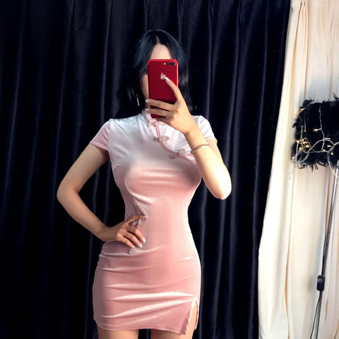 Pink Velvet Dress - Alternative Fashion