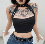 Neck Cropped Black - Alternative Fashion