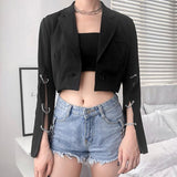 Chain Sleeves Crop Blazer jacket - Alternative Fashion