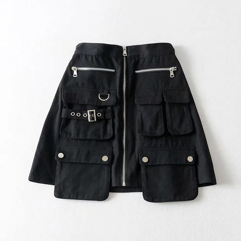 Cargo Zipper Skirt - Alternative Fashion