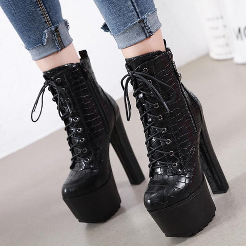 Lace Up Platform Boots - Alternative Fashion