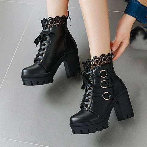 Lace O-Ring Boots