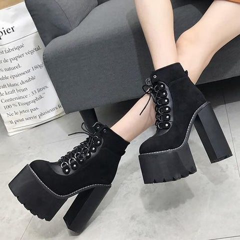 Black Goth Platform Shoes - Alternative Fashion