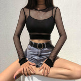 Fishnet Long Sleeve Crop Top - Alternative Fashion
