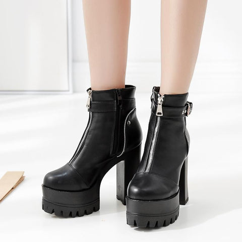 Zip Up Boots Platform - Alternative Fashion