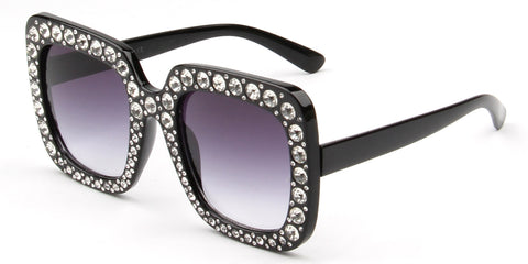 Women Modern Fashion Rhinestone Square Oversized Sunglasses
