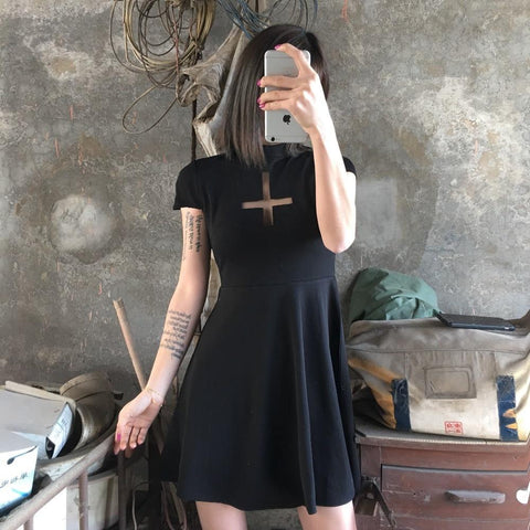 Inverted Cross Mini Dress - Alternative Fashion