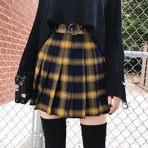 Yellow Plaid Pleated Skirt - Alternative Fashion