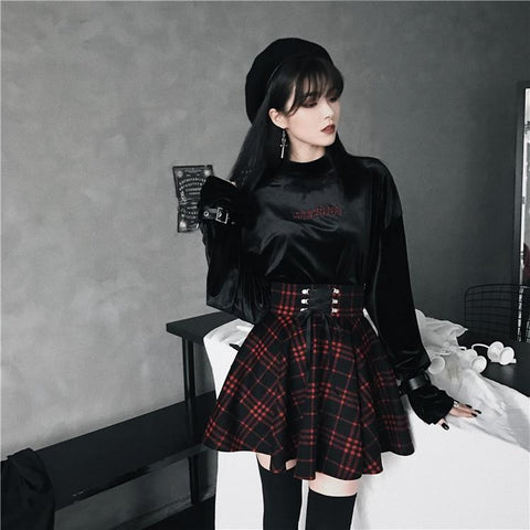 Gothic Red Plaid Skirt - Alternative Fashion