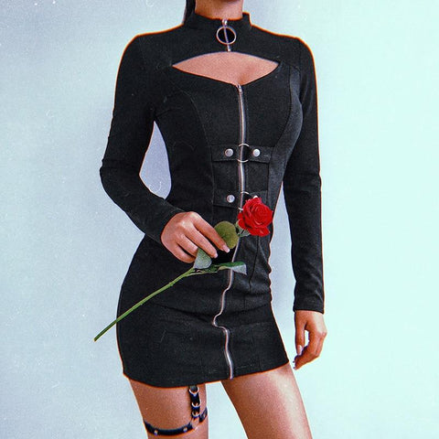 Bodycon Zip Up Dress - Alternative Fashion