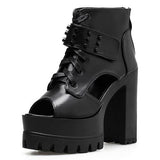 Lace Up Platform Shoes - Alternative Fashion