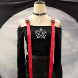Pentagram Red Shoulder Top - Alternative Fashion
