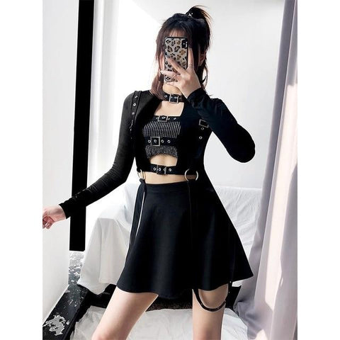 High Waist Skirt Suspender - Alternative Fashion
