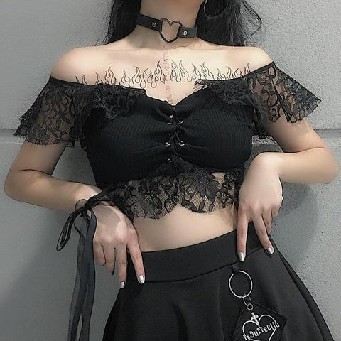 Lace Shoulder Crop Top - Alternative Fashion