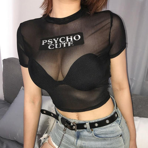 Psycho Cute Mesh Top - Alternative Fashion