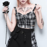 Black White Plaid Zip Up Top - Alternative Fashion