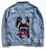 Denim Jacket Dog Unissex - Alternative Fashion