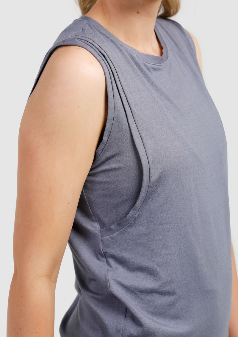 Cherish Me Nursing Tank (Dusty Blue) (4299711610925)