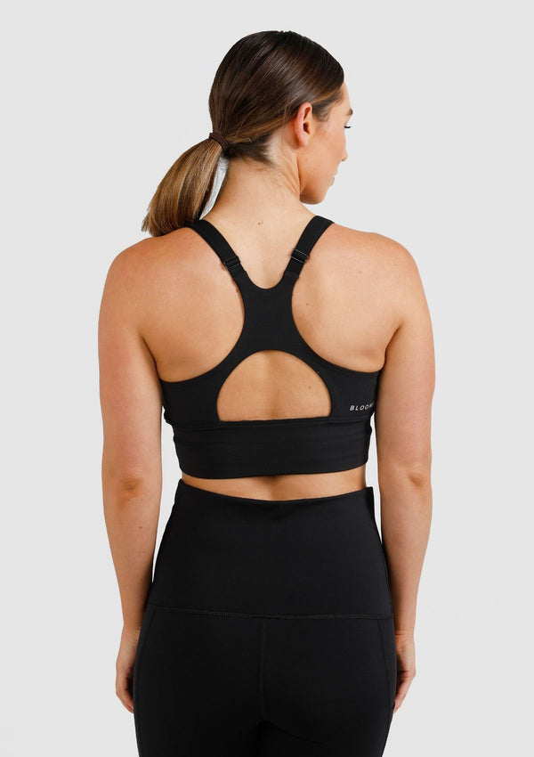 Long Line Nursing Sports Bra (Black)