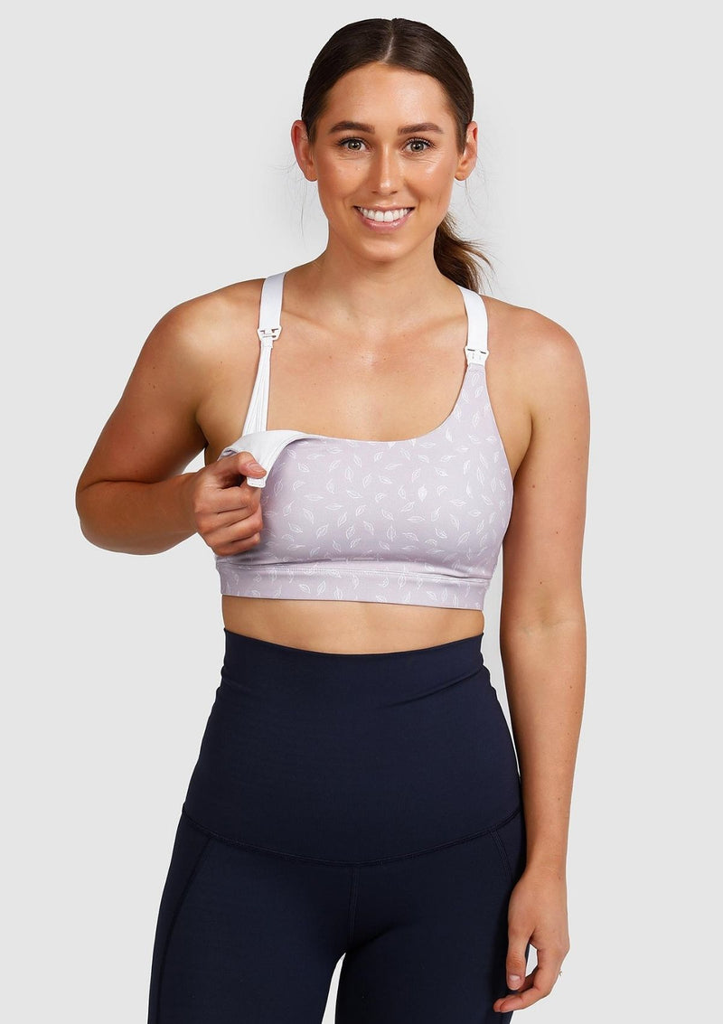 Sienna Nursing Sports Bra (Lilac Leaf) (5670041125013)