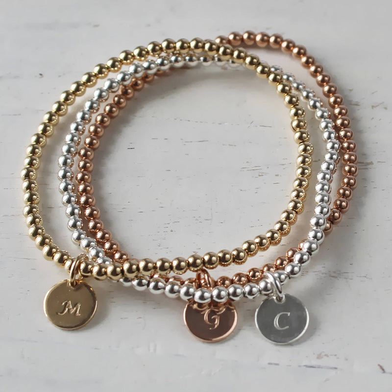 Beaded Bracelet • 14K Gold Filled Beaded Bracelet • Personalized Bracelet • Sterling Bracelet • B021