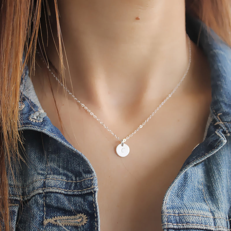 Sterling Silver Initial Necklace • B074