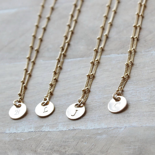 gold disc initial necklace • silver disc initial necklace • satellite • personalized necklace • B076